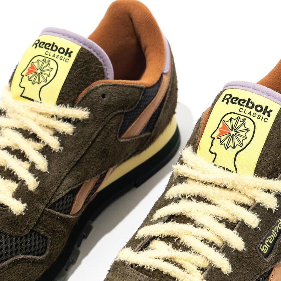 Reebok Classic Leather 2020 en suède vert foncé orange et violet (2)