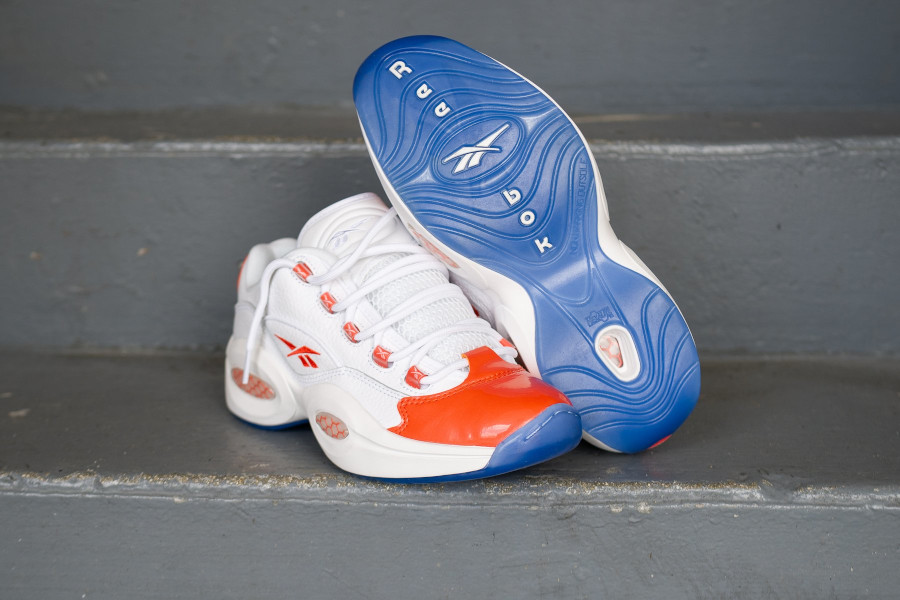 Reebok Question Low blanche et en cuir brillant orange (2)