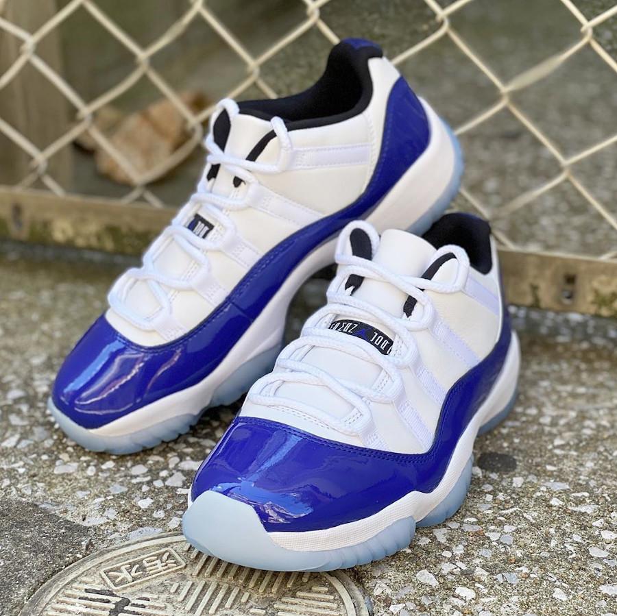 Womens Air Jordan XI Retro en cuir brillant bleu violet (2)