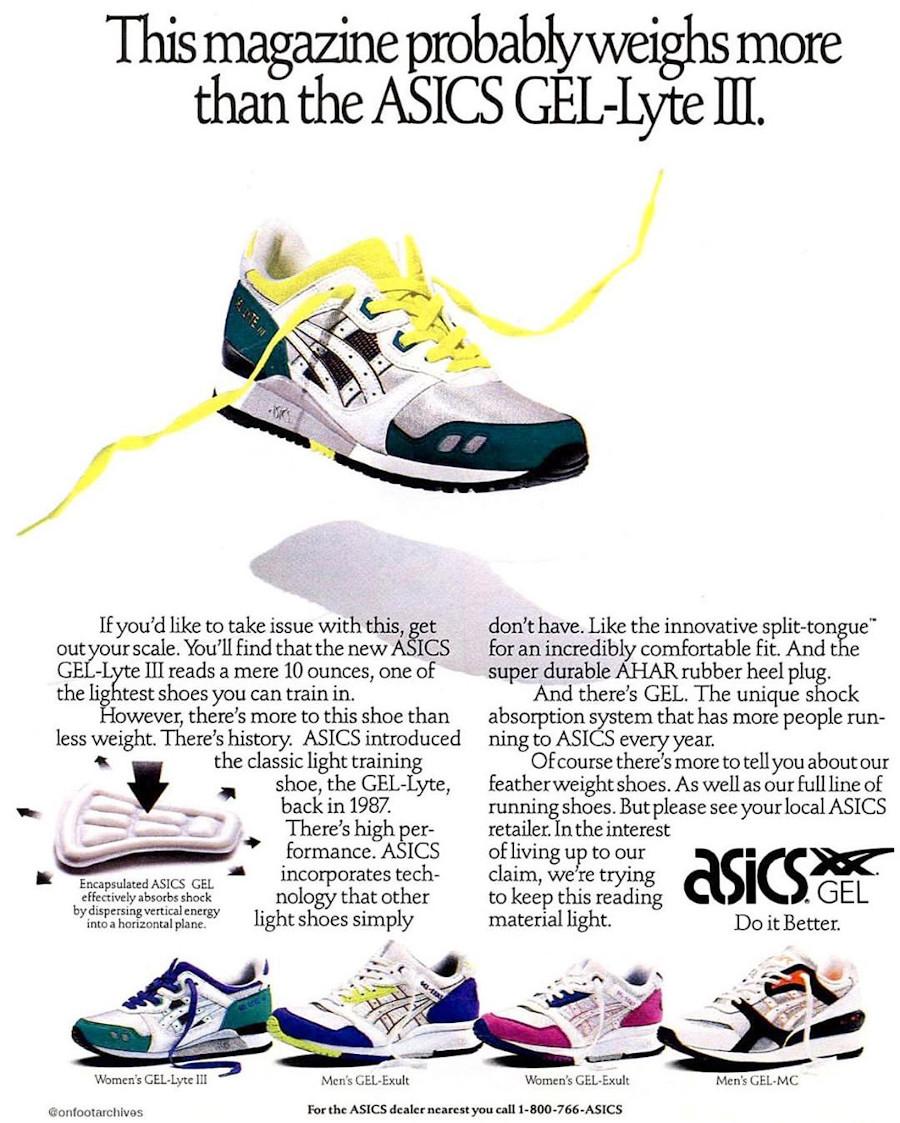 publicité Asics Gel Lyte 3 de 1990