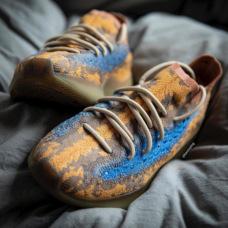 Adidas Yeezy Boost 380 snakeskin marron jaune moutarde et bleu (8)