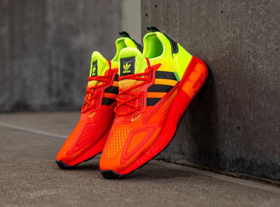 FW0482 : que vaut la Adidas ZX 2K Boost Gradient Solar Yellow Red ?
