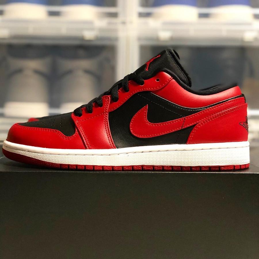 Air Jordan 1 basse 2020 en cuir rouge et noir (1)