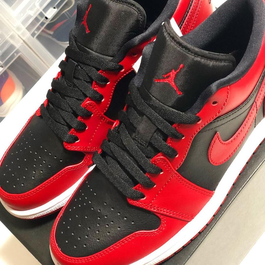 Air Jordan 1 basse 2020 en cuir rouge et noir (3)