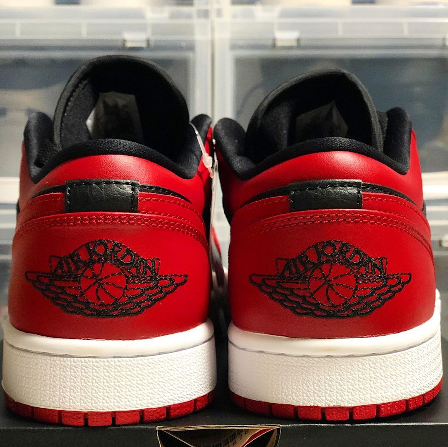Air Jordan 1 basse 2020 en cuir rouge et noir (4)