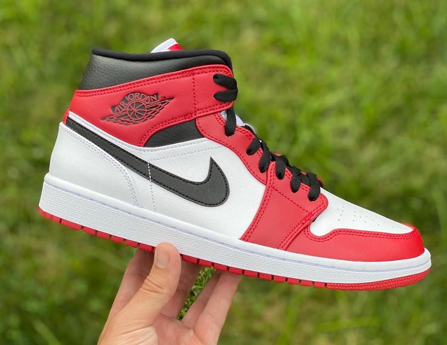 Air Jordan 1 mi-montante 2020 homme blanche noire et rouge (2)