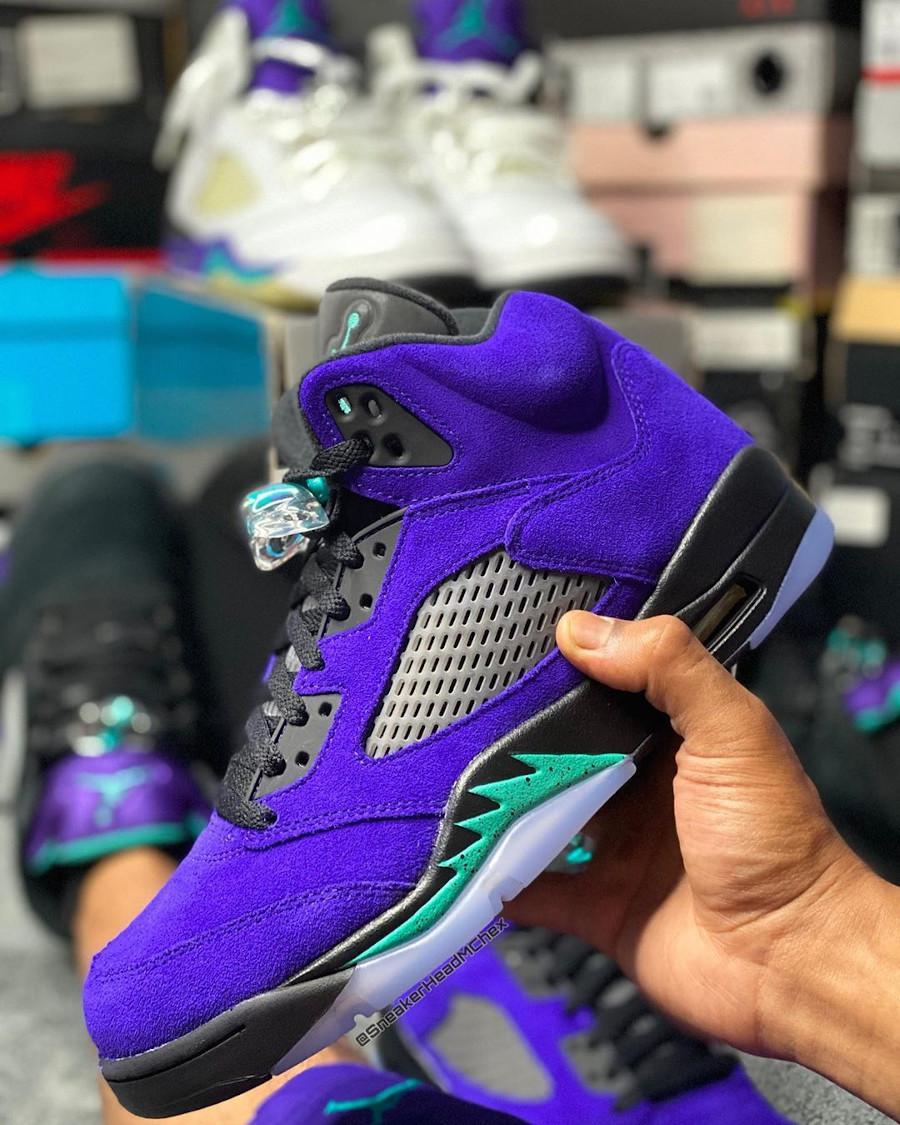 Air Jordan 5 Suede violet raisin et bleu turquoise (1)