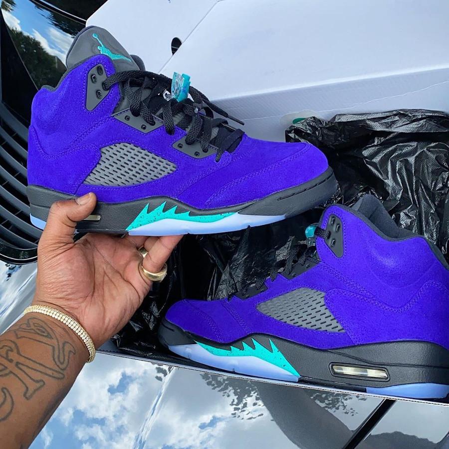 Air Jordan 5 Suede violet raisin et bleu turquoise (2)