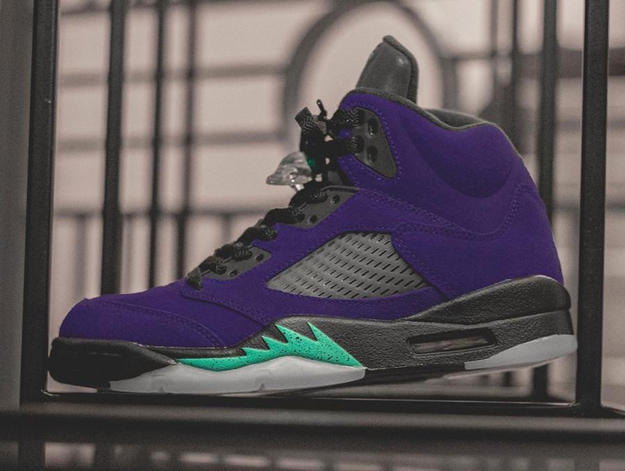 Air Jordan 5 Suede violet raisin et bleu turquoise (3)