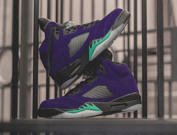 Air Jordan 5 Suede violet raison et bleu turquoise (5)