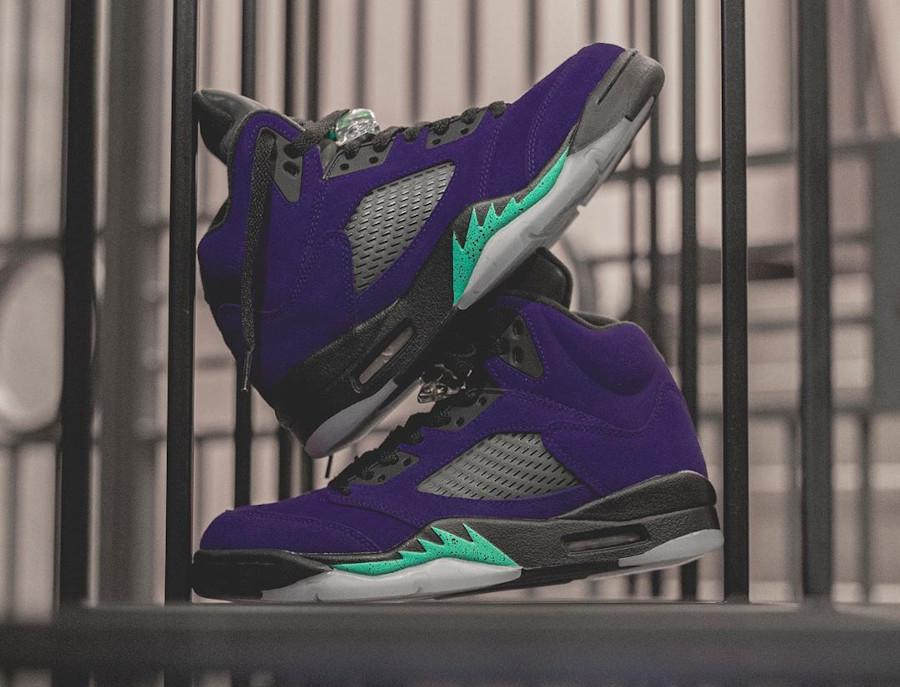 Air Jordan 5 Suede violet raisin et bleu turquoise (5)