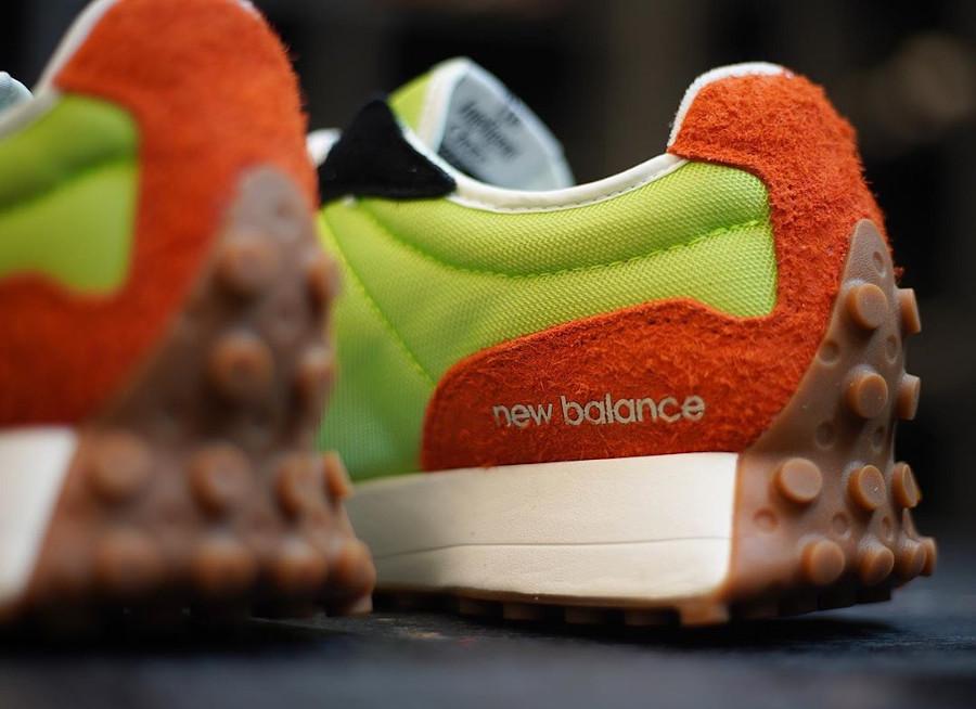 New Balance 327 homme orange vert fluo et gris (3)