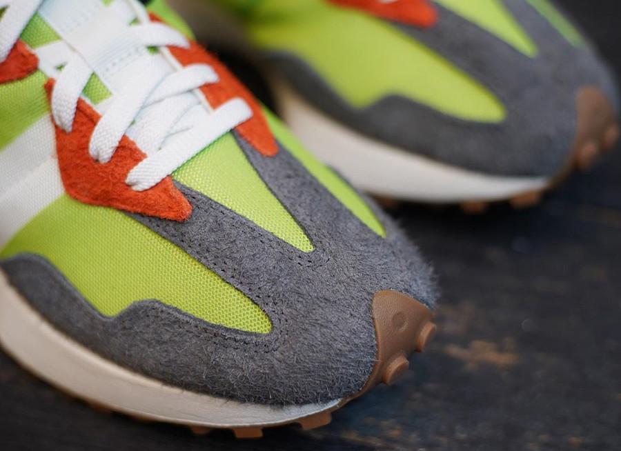 New Balance 327 homme orange vert fluo et gris (4)