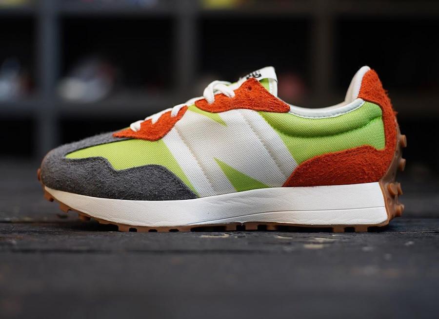 New Balance 327 homme orange vert fluo et gris (6)