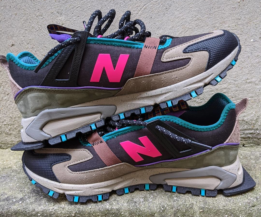 New Balance X-Racer outdoor noire grise rose et turquoise (1-1)