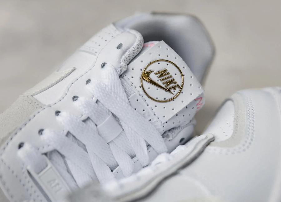Nike AF1 Shadow femme blanche beige doré (cuir perforé) (7)