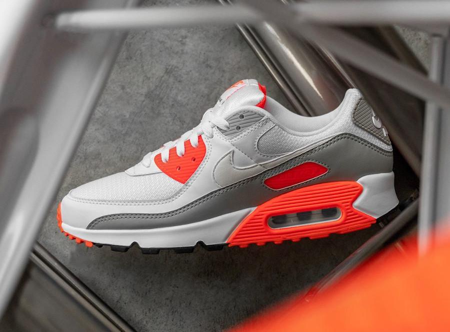 Nike Air Max 90 30ème anniversaire agrume vif blanche et grise (8-1)