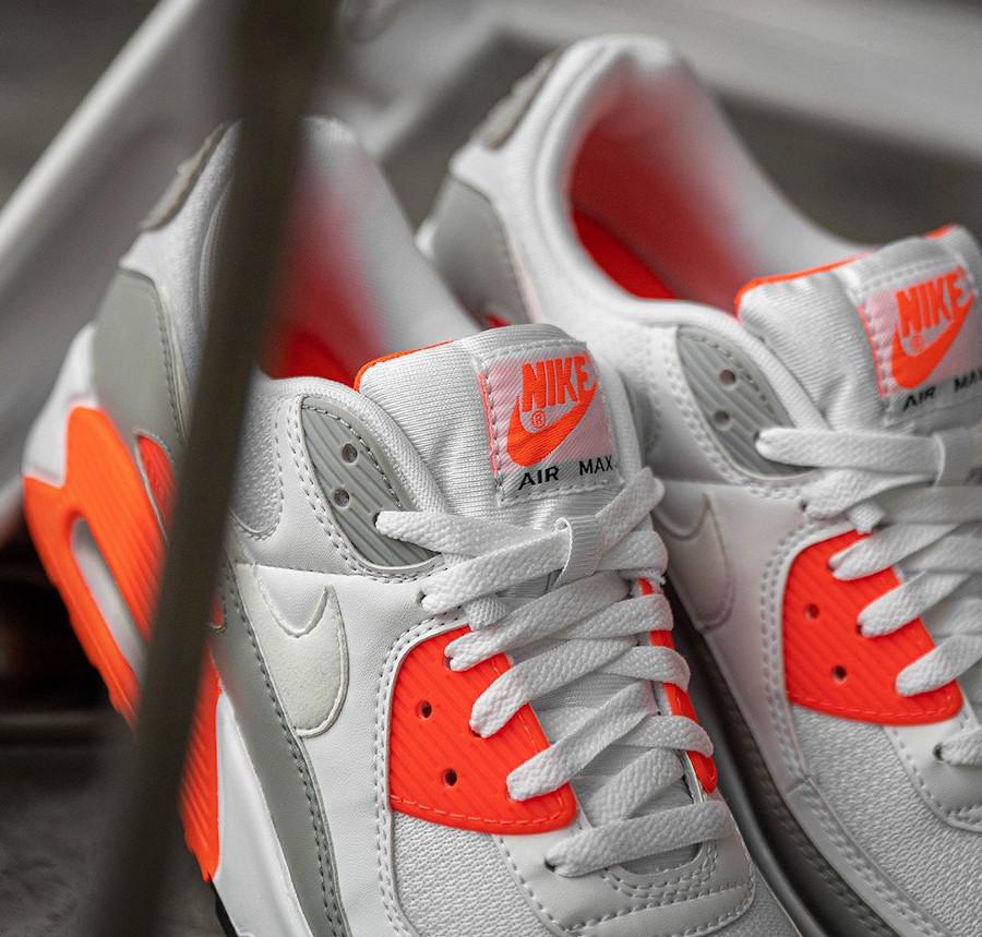Nike Air Max 90 30ème anniversaire agrume vif blanche et grise (8)