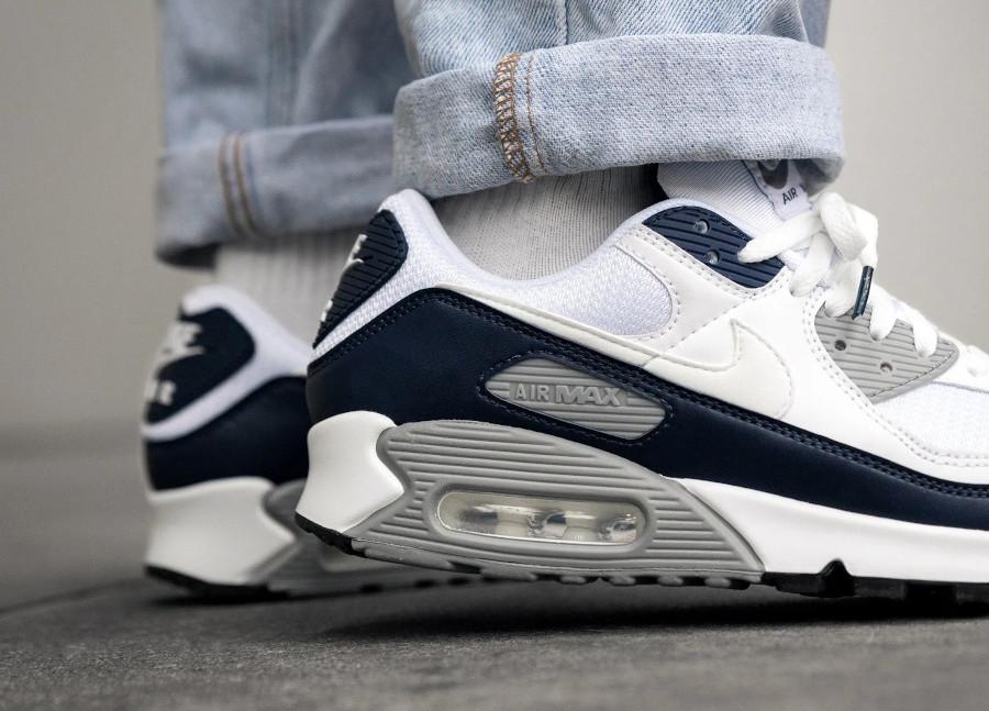 Nike Air Max 90 30ème anniversaire blanche bleu foncé et grise (3)