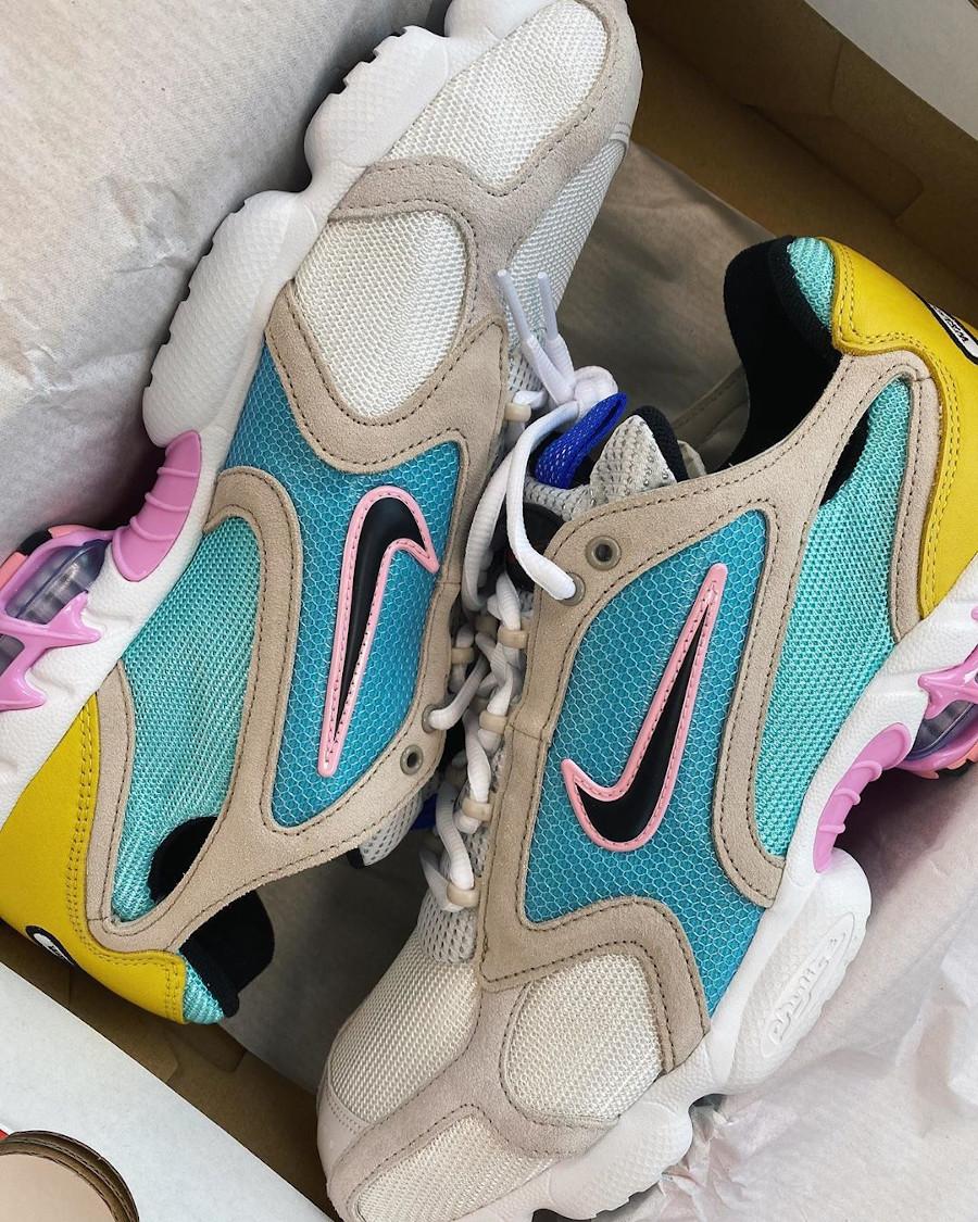 Nike Air Zoom Spiridon Cage 2 turquoise jaune et rose (exclusivité Size? (1)