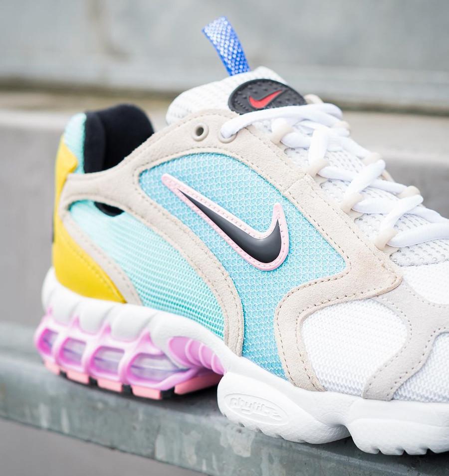 Nike Air Zoom Spiridon Cage 2 turquoise jaune et rose (exclusivité Size? (4)