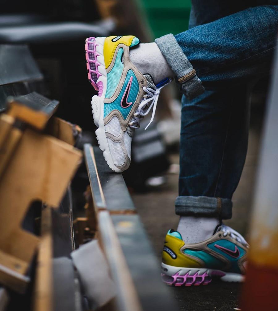 Nike Air Zoom Spiridon Cage 2 turquoise jaune et rose (exclusivité Size? (7)