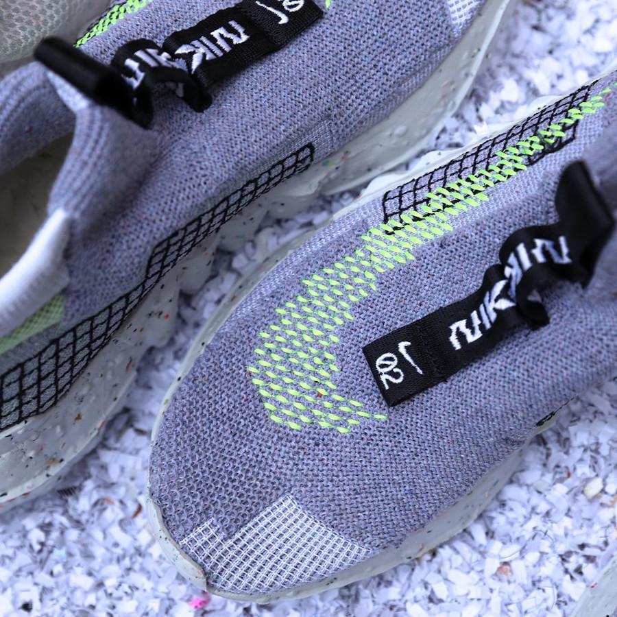 Nike Space Hippie 02 en débris spaciaux grise et vert fluo (1)