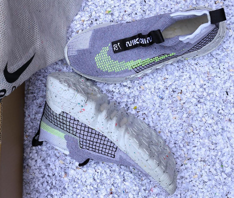 Nike Space Hippie 02 en débris spaciaux grise et vert fluo (2)