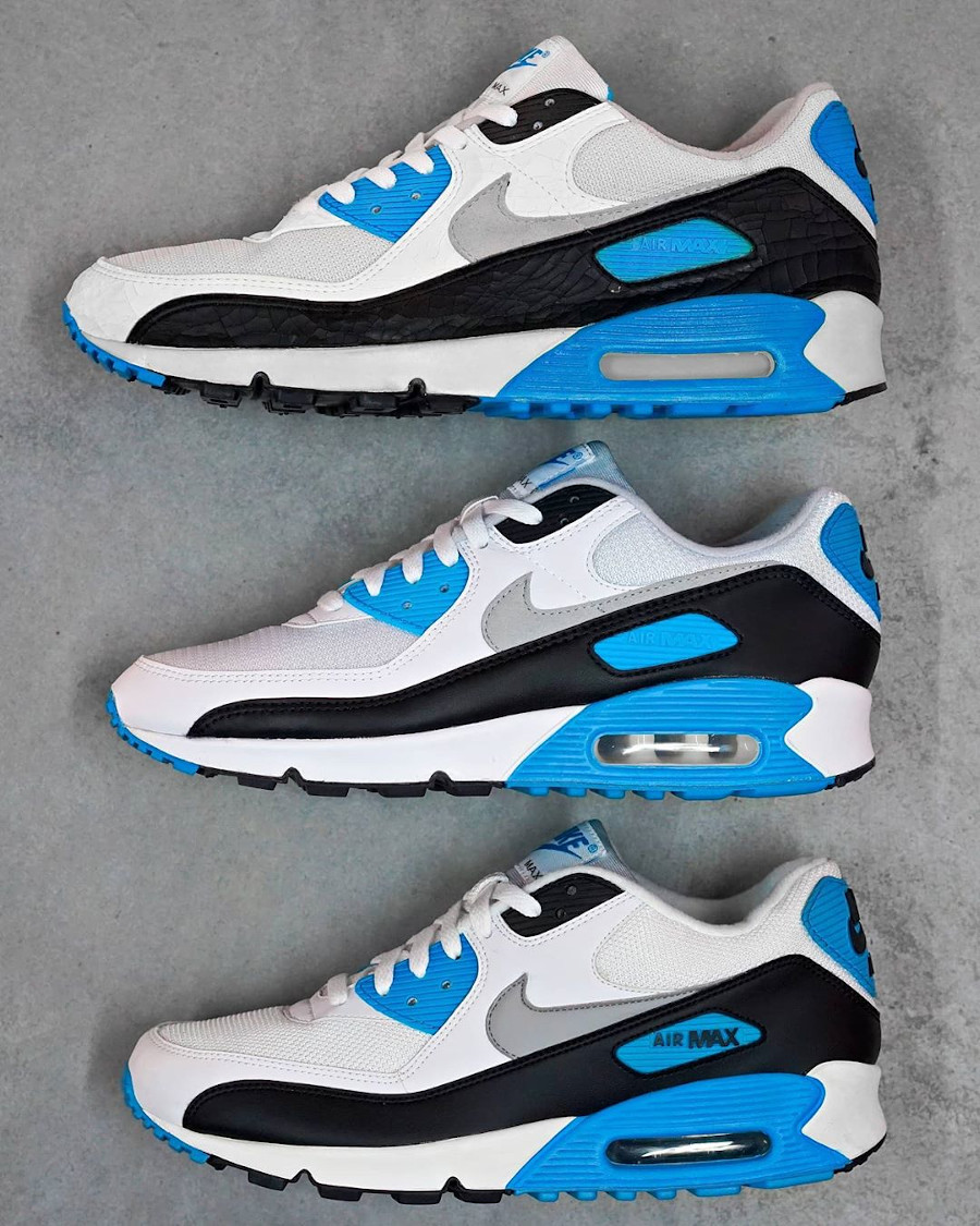 comparatif Nike Air Max 3 Laser Blue 1990 2010 2020