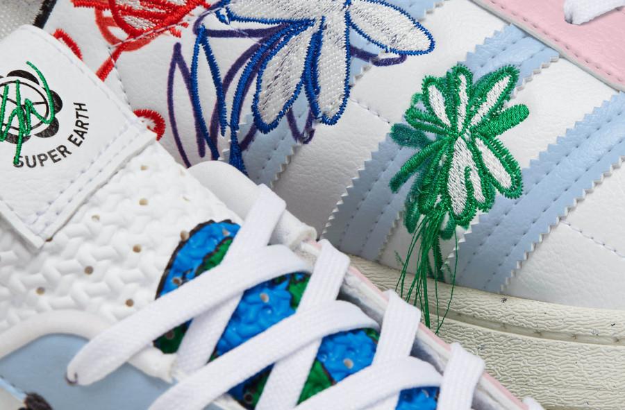 Adidas Superstar Vegan 50th avec fleurs brodées multicolores (3)