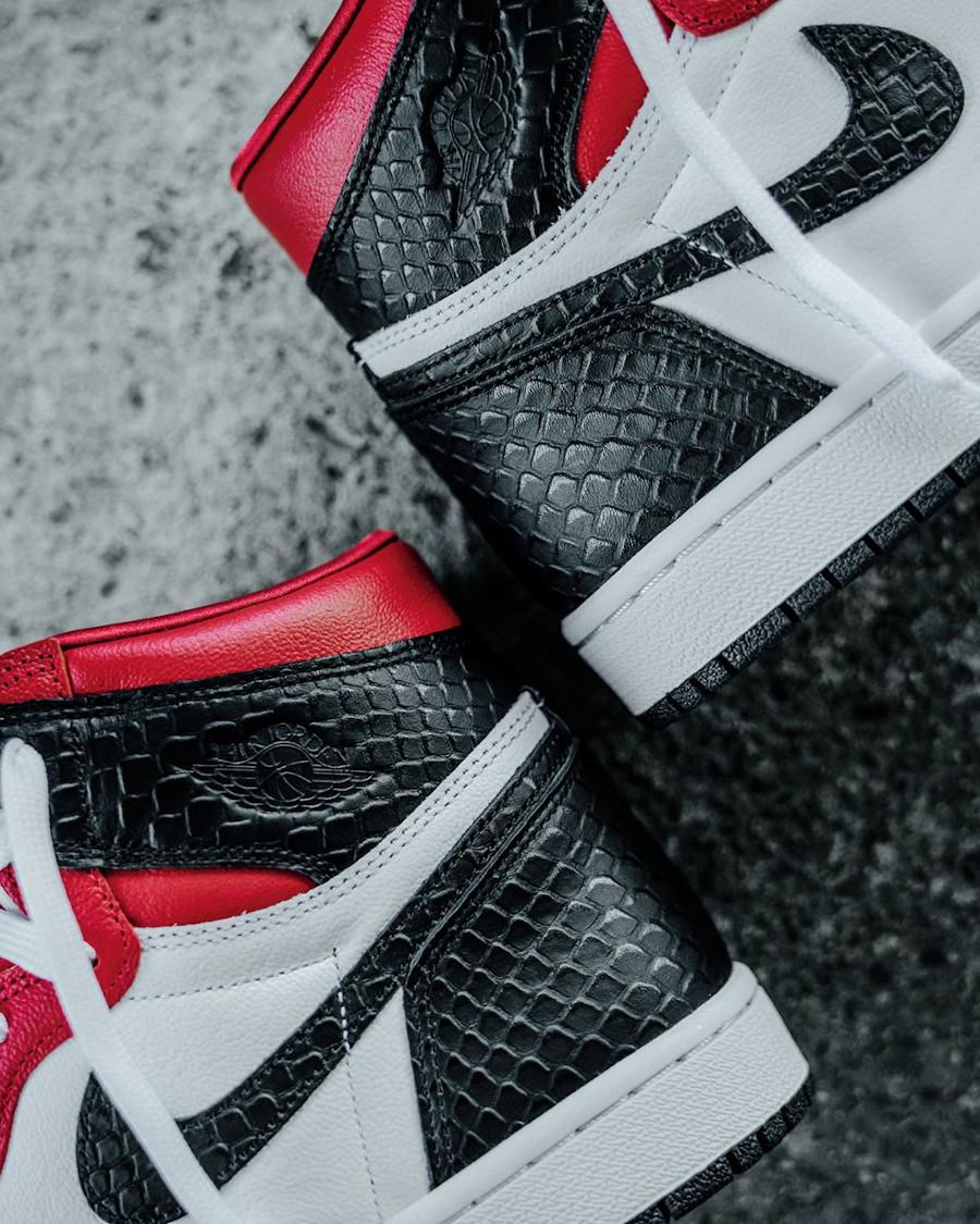 Air Jordan 1 Hi 2020 cuir rouge satiné et peau de serpent (3)