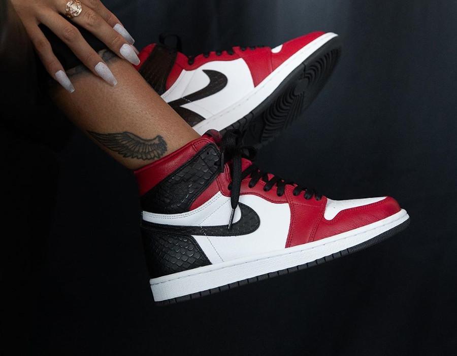 Air Jordan 1 High OG Chicago Satin Snake on feet (3)
