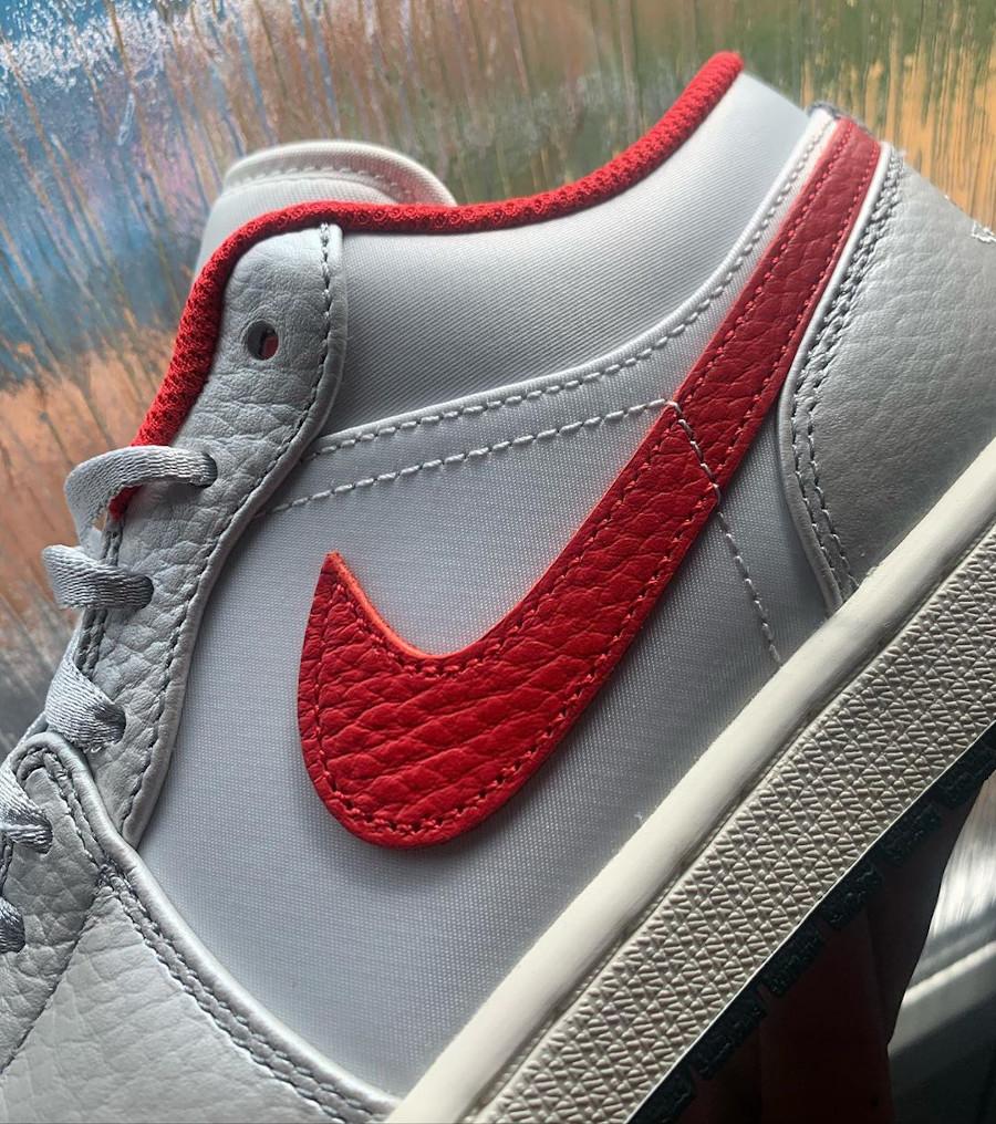 Air Jordan 1 Low 2020 gris argent métallique et rouge (2)