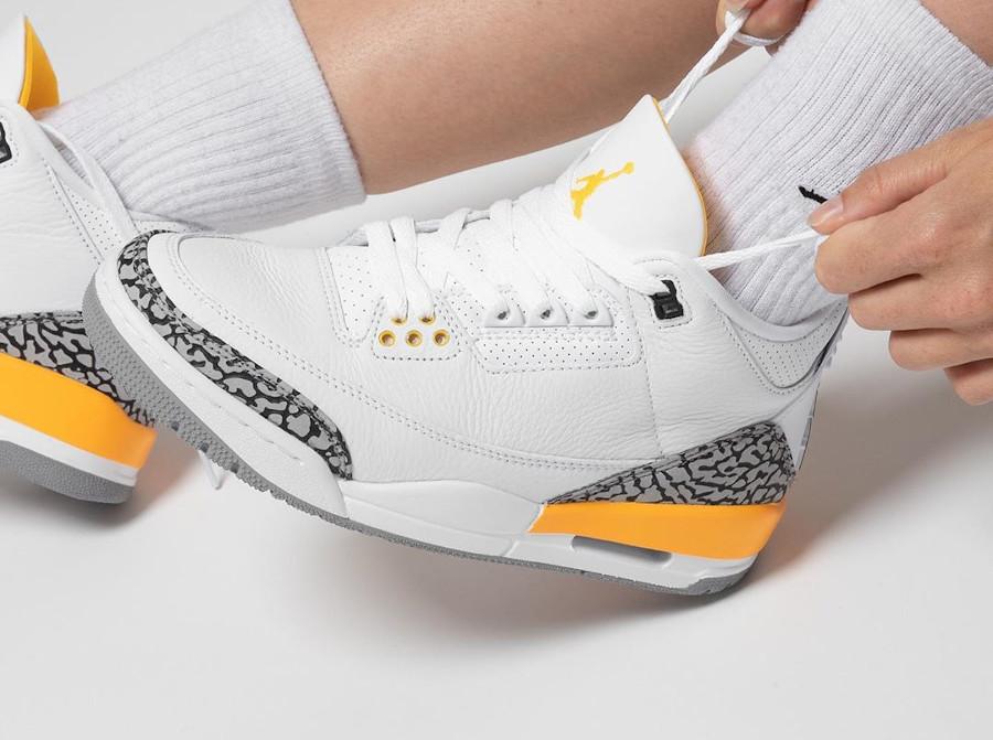 Air Jordan III femme 2020 blanche et jaune (2)