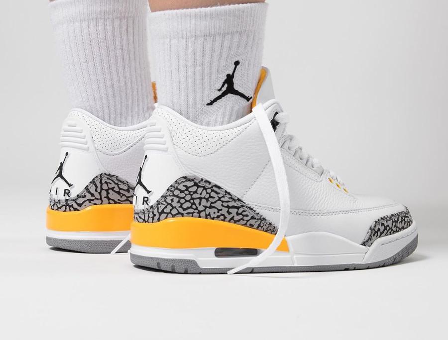 Air Jordan III femme 2020 blanche et jaune (4)