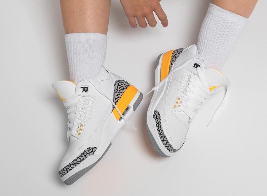Air Jordan III femme 2020 blanche et jaune (6)