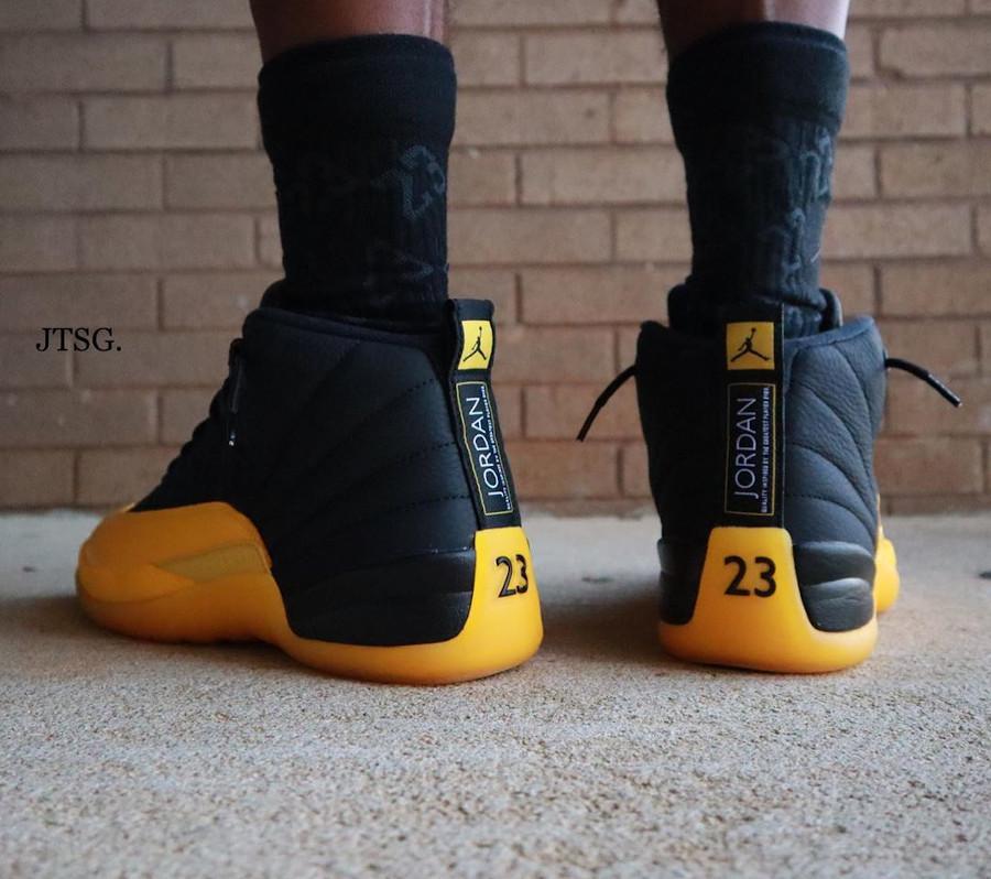 Air Jordan XII Retro 2020 noire et jaune (4)