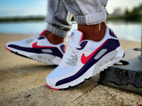 Nike Air Max 3 90 OG Recraft Eggplant 2020 on feet CW1360 100
