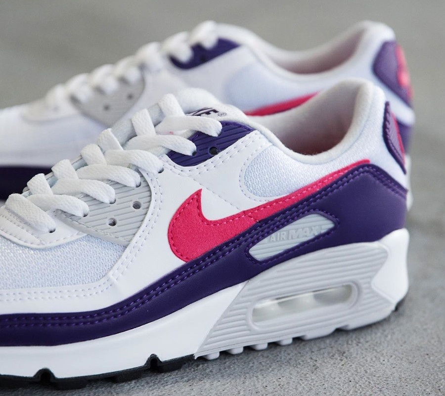 Nike Air Max 90 30th femme violet aubergine blanche et rose (2)