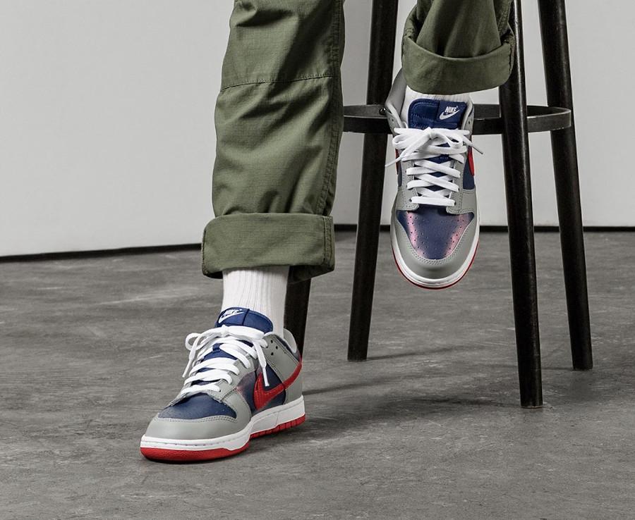 Nike Dunk Low Co.JP gris bleu irisé et rouge (2)