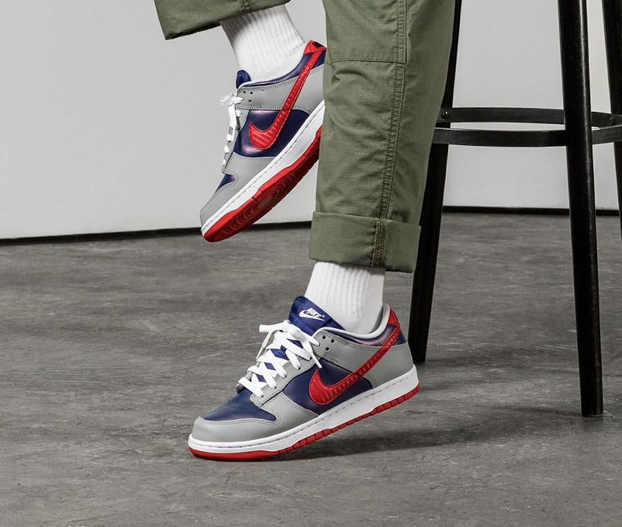 Nike Dunk Low Co.JP gris bleu irisé et rouge (3)