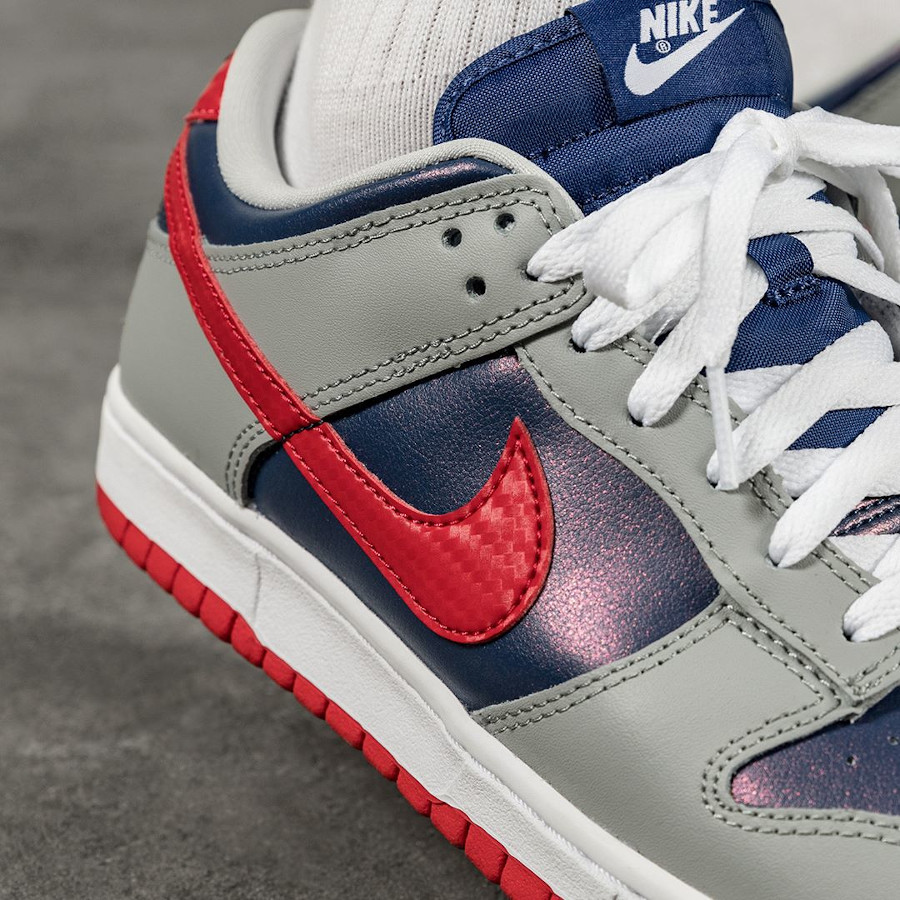 Nike Dunk Low Co.JP gris bleu irisé et rouge (5)