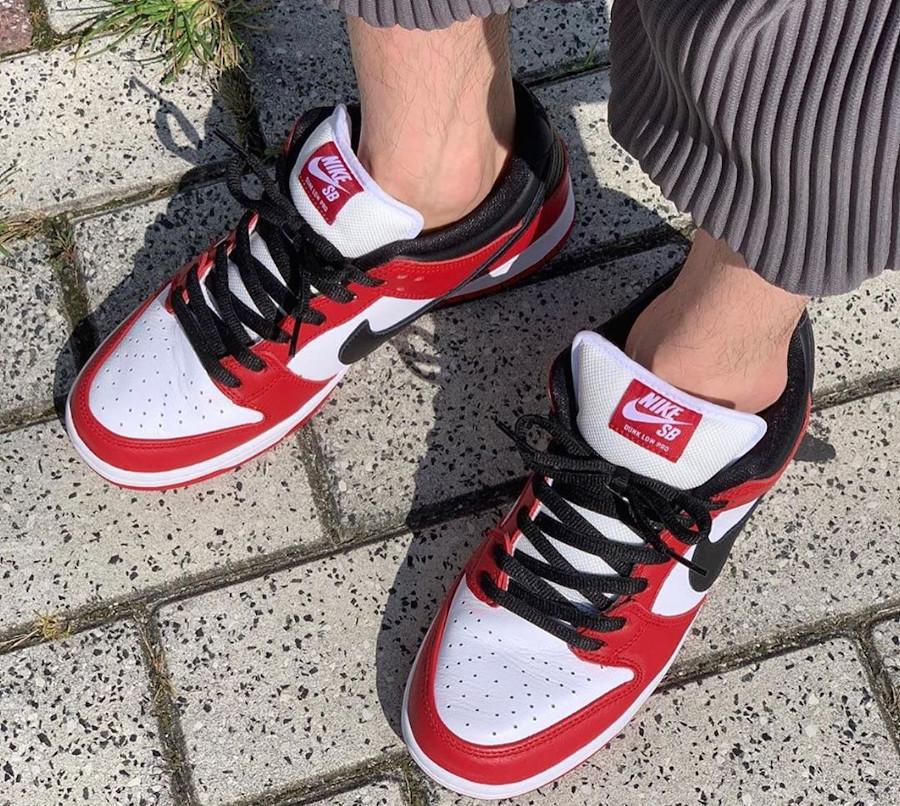 Nike Dunk Low Pro SB rouge blanche et noire (3)