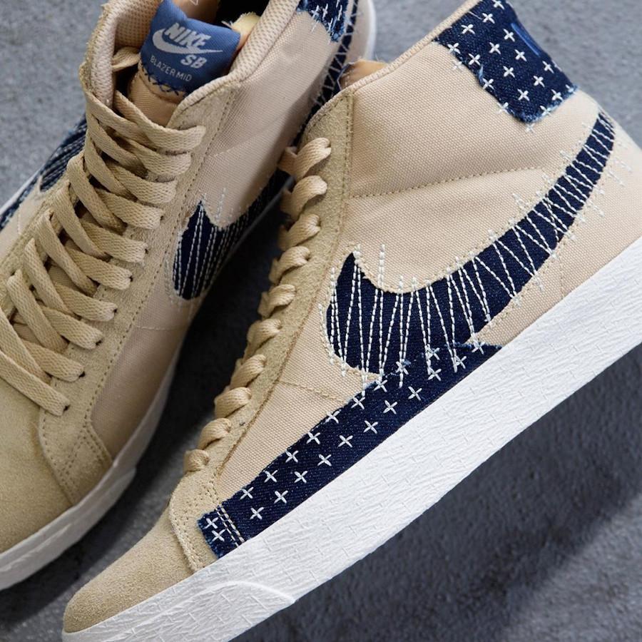 Nike SB Blazer Denim Beige (broderie japonaise) (3)