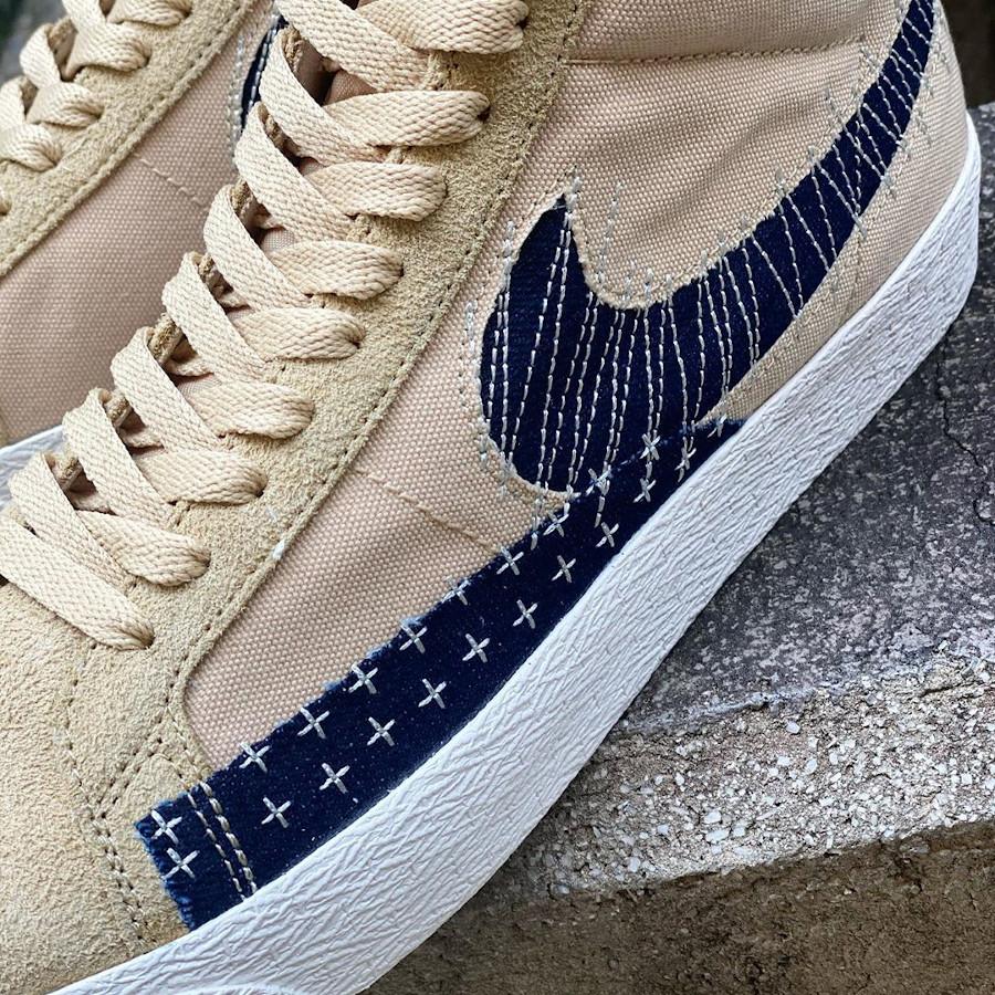 Nike SB Blazer Denim Beige (broderie japonaise) (4)