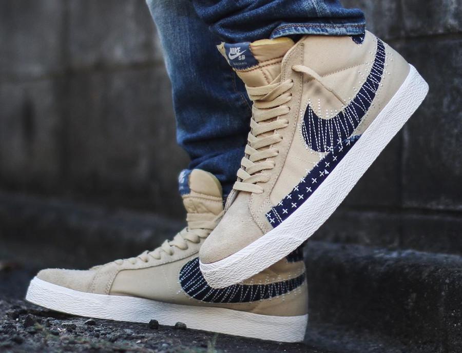 Nike SB Blazer mi-montante beige et en jeans on feet (1)