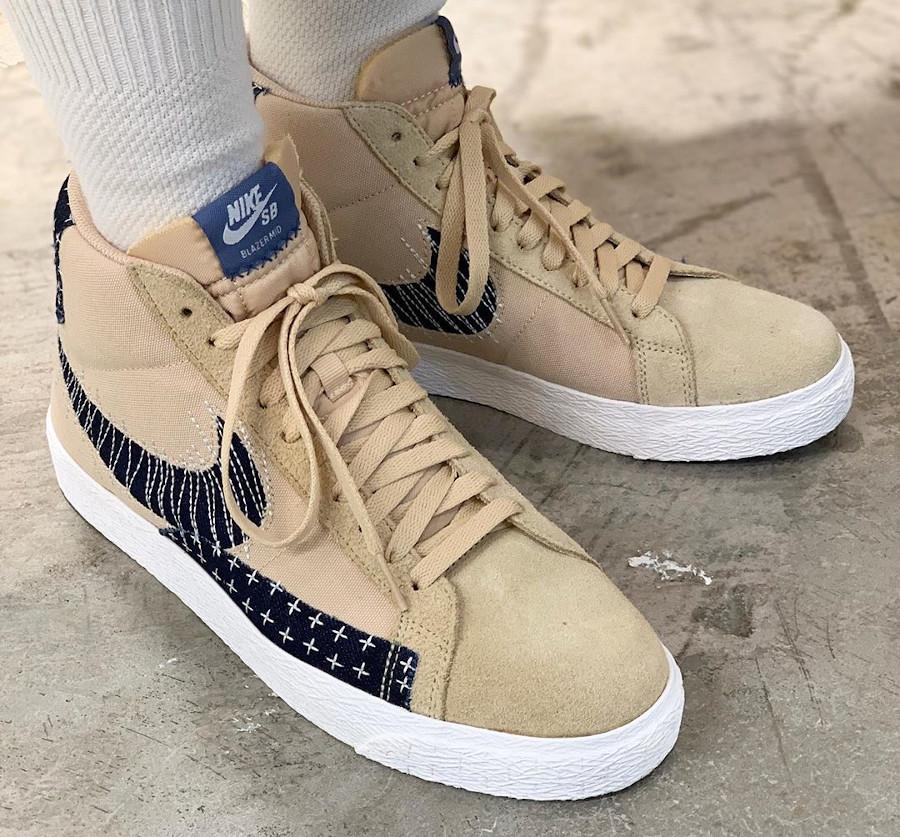 Nike SB Blazer mi-montante beige et en jeans on feet (2)
