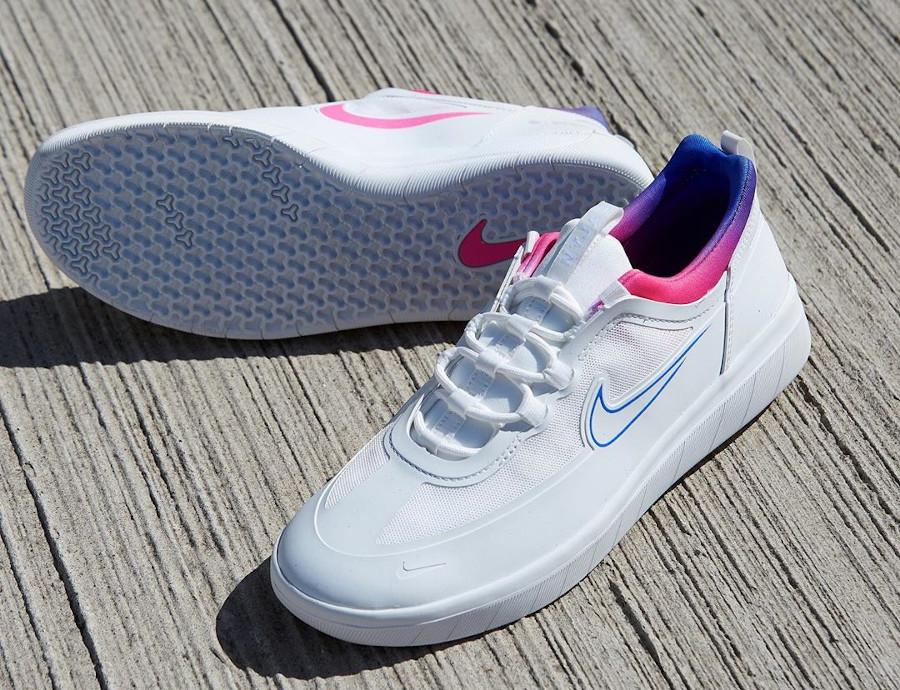 Nike SB Nyjah Free 2 blanche bleu et rose (1)