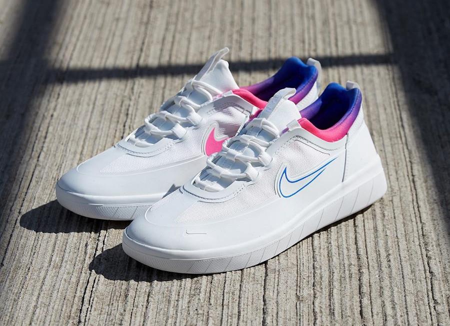 Nike SB Nyjah Free 2 blanche bleu et rose (2)