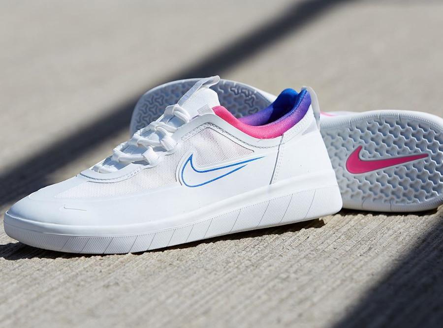 Nike SB Nyjah Free 2 blanche bleu et rose (3)
